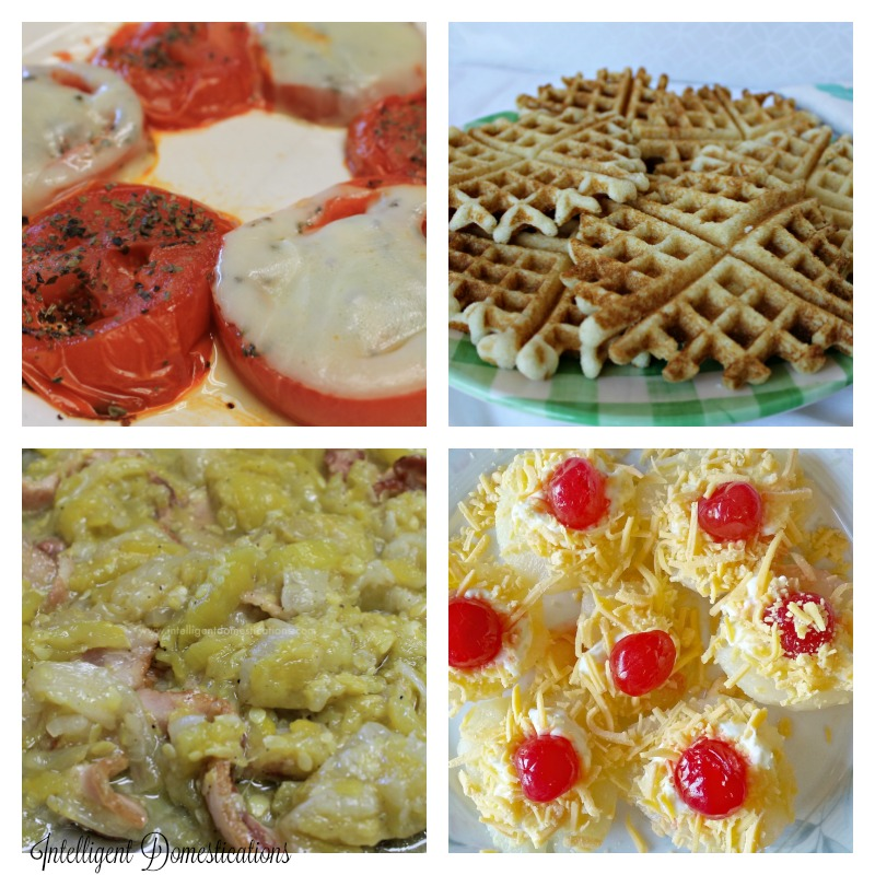 No Meat Thursday Menu with Basil Grilled tomatoes, Stewed Squash and onions, Waffle Iron Grilled corn bread and Pea Salad