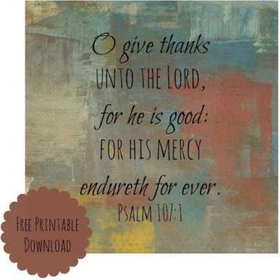 O Give Thanks Free Printable