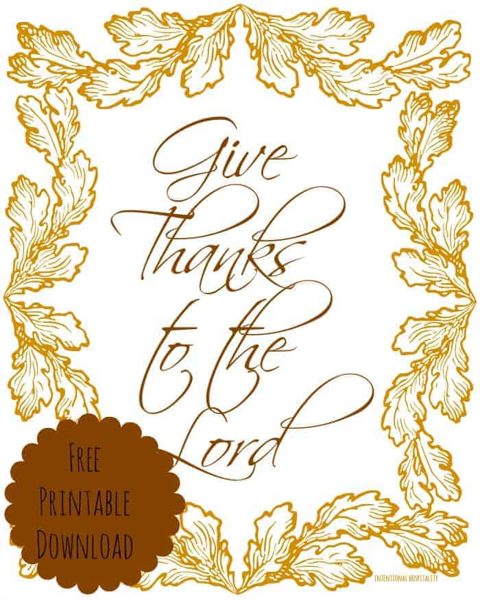 Give Thanks Free Printable