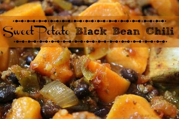 Sweet Potato Black Bean Chili is a thick chunky, belly filling spicy chili. The sweet potatoes lend to just the right amount of sweetness to complement the heat.