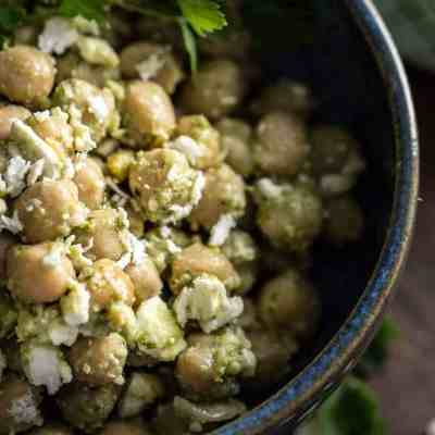Chickpeas Salad with Pesto and Feta