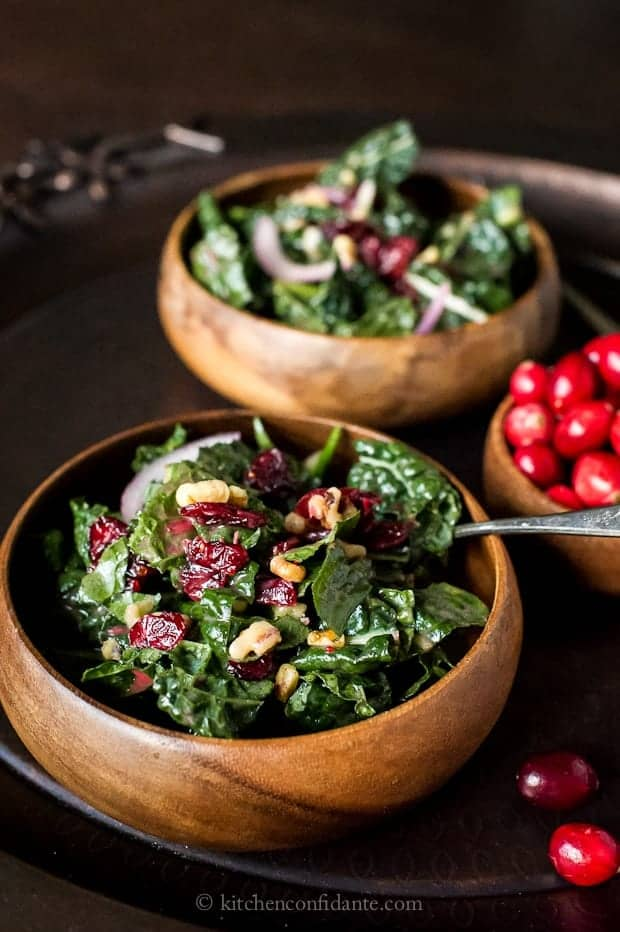 Cranberry Walnut Kale Salad with Cranberry Vinaigrette
