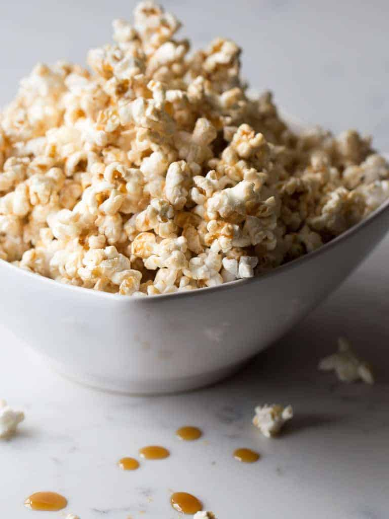 Oh so good, Maple Glazed Popcorn! Ok so popcorn is good for you, and maple, well it's better for you than processed sugar so I decided to give it a try. It was very easy to make and didn't take much time at all.