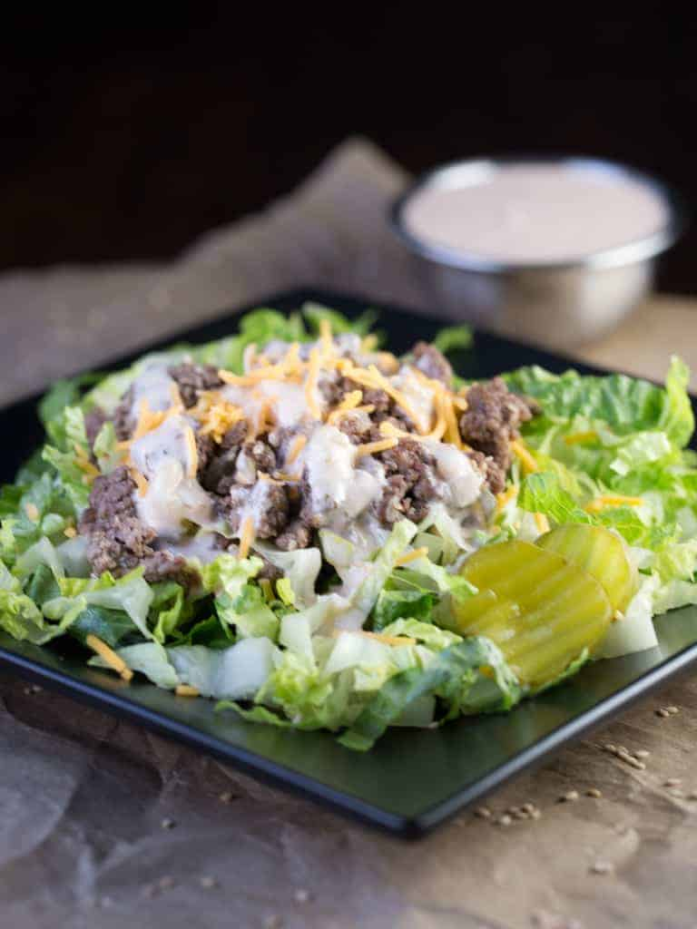 Hungry for a Big Mac but don't want the calories? Try whipping up a light and delicious Cheeseburger salad with Big Mac Sauce Salad Dressing to satisfy your hunger.