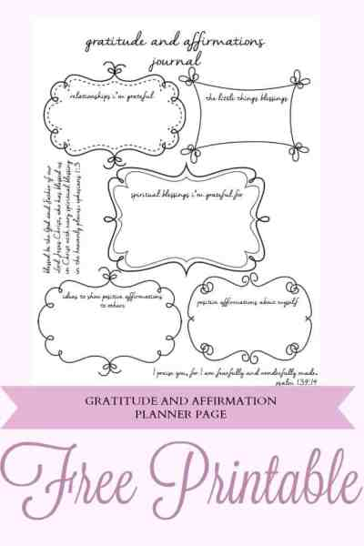 Free Gratitude and Affirmations Planner Printable