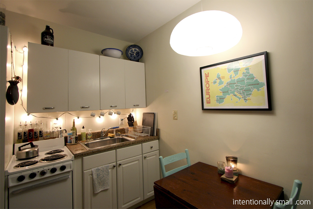 lighting a small space kitchen task lighting and paper lantern pendant1