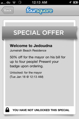 Foursquare special offer screenshot