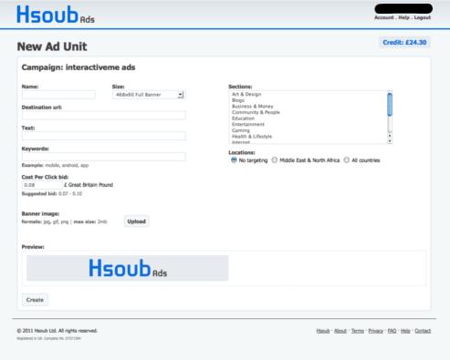 hsoub adding unit screenshot