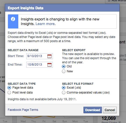 New facebook insights data export