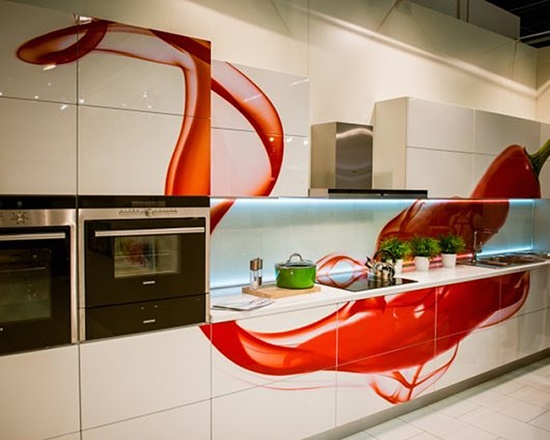Modern kitchen designs designs with red cabinets that pop - Kitchen design red and white ...