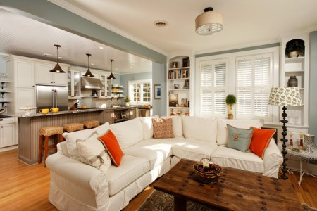 3eclectic living room with white sofa a