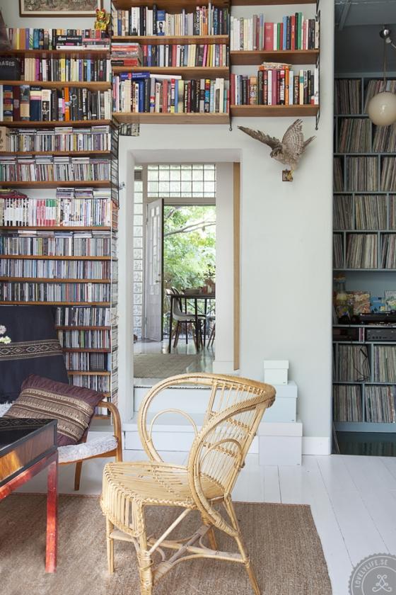 Textura que forma la estantería String, los libros, los discos.