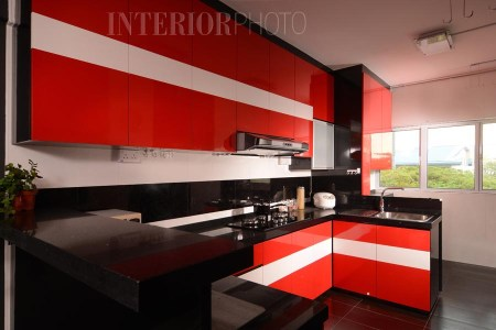 kitchen design with red white and black
