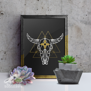 Art Print By Keena Wolff Skulls And Succulents Polygonal Skull Zia