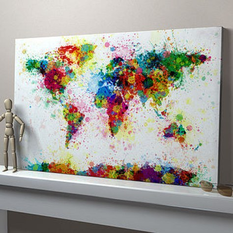 This paint-splattered map: