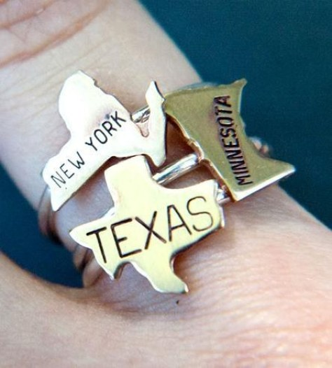 These brass state rings: