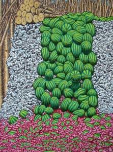 "Michael Craig Smith, Watermelon Waterfall, 2014, oil, 40"" x 30,"" Rebecca R. Bryan Best in Show Award, WACG 18th Annual Juried Art Exhibition."