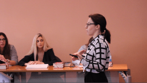 Dr. Anna Plevri teaches a law class at the University of Nicosia. There are many young women in her class and she hopes to instill in them that their gender is not a disadvantage.