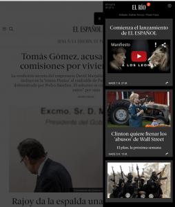 Portada de El Español al desplegar El Río