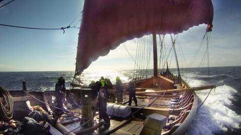 Viking ship sails for America via Iceland and Greenland