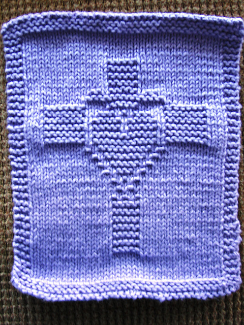 Free knitting pattern for Heart and Cross motif