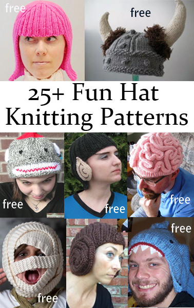 Free Crochet Patterns Novelty Hats : Fun Hats Knitting Patterns In the Loop Knitting