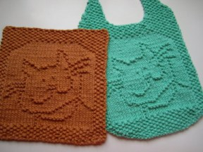 Mickey's Cat Baby Bib Free Knitting Pattern