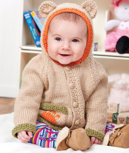 Baby Bear Hoodie Free Knitting Pattern | Free Baby and Toddler Sweater Knitting Patterns including cardigans, pullovers, jackets and more http://intheloopknitting.com/free-baby-and-child-sweater-knitting-patterns/