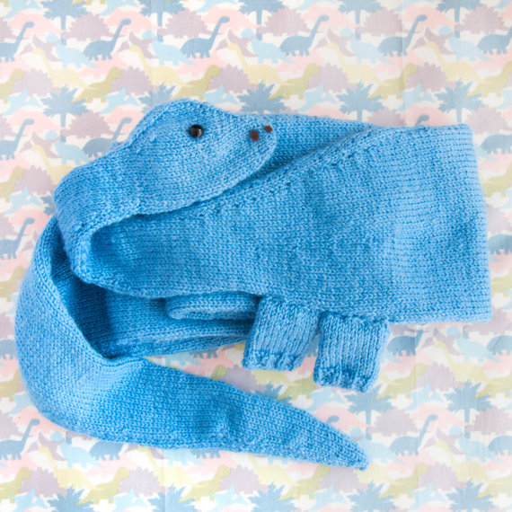 Knitting pattern for Diplodocus Scarf dinosaur shaped scarf