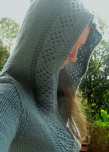 Free knitting pattern for Corona pullover sweater with hood and more hoodie patterns