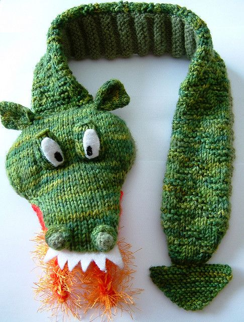 Free knitting pattern for Fiery Dragon Scarf and more fantastical creature knitting patterns