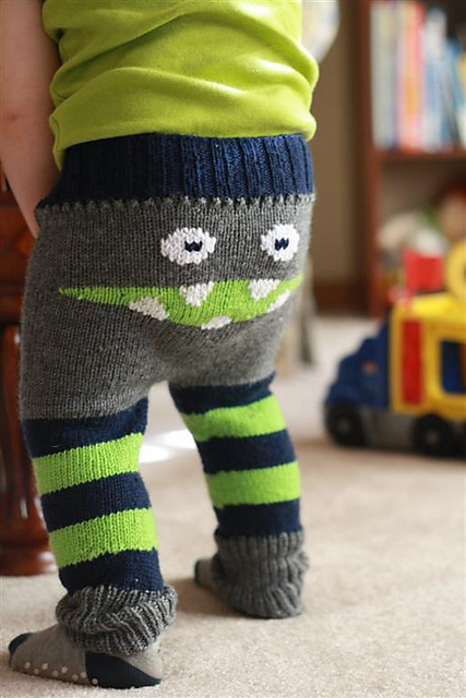 Free knitting pattern for Baby Monster Pants