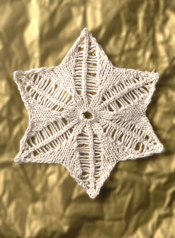 Free knitting pattern for Snowflake ornament and more holiday decoration knitting patterns