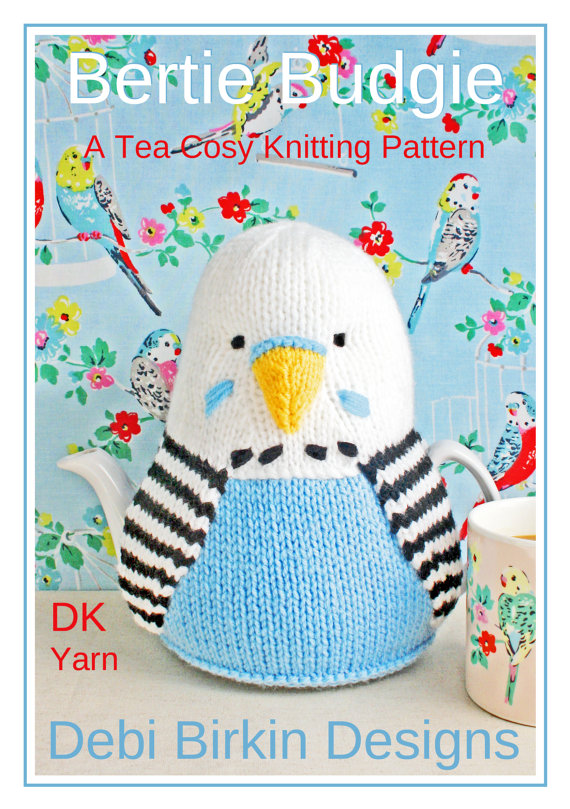 Knitting pattern for Budgie Bird Tea Cosy / Cozy and more bird knitting patterns