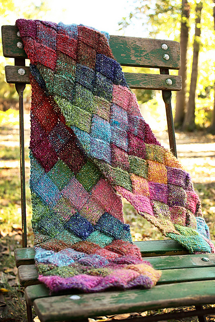Free knitting pattern for Entrelac Scarf and more colorful scarf knitting patterns