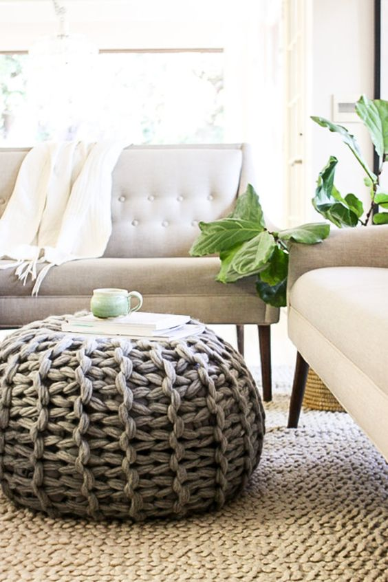 Free knitting pattern for Pouf / Footstool / Ottoman you can finish in a couple of hours