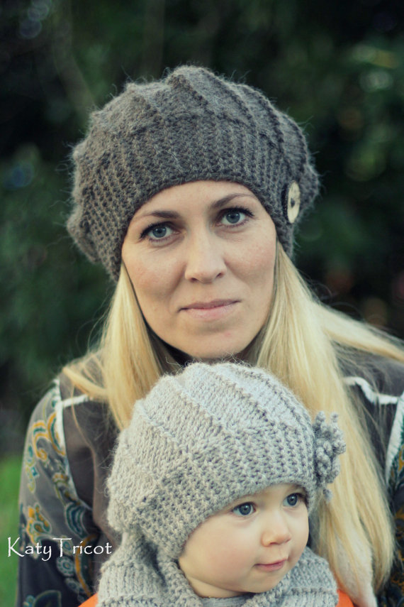 Childrens Knitted Hat Patterns : Knitting Patterns for Matching Parent and Child Sets In the Loop Knitting