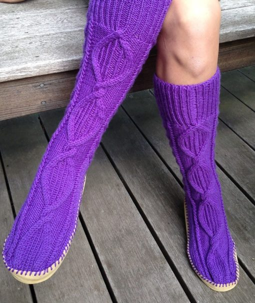 Cable Knit Sock Pattern : Slipper Socks and Boots Knitting Patterns In the Loop Knitting