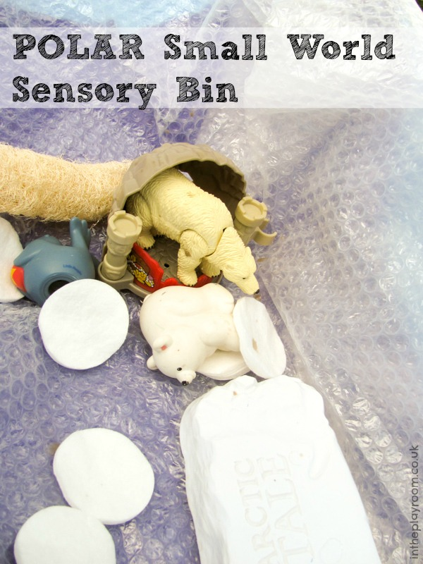 polar theme small world sensory bin