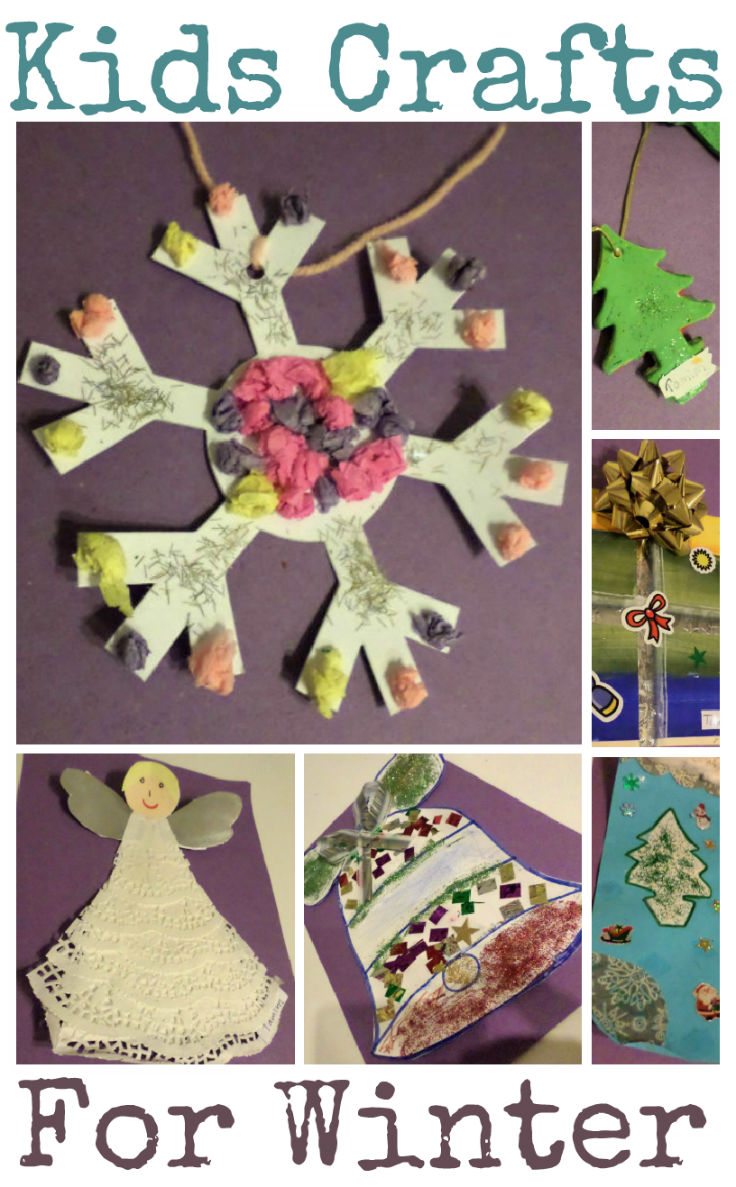 Kids craft ideas for winter including snow flake, angel, bell, christmas present crafts and more