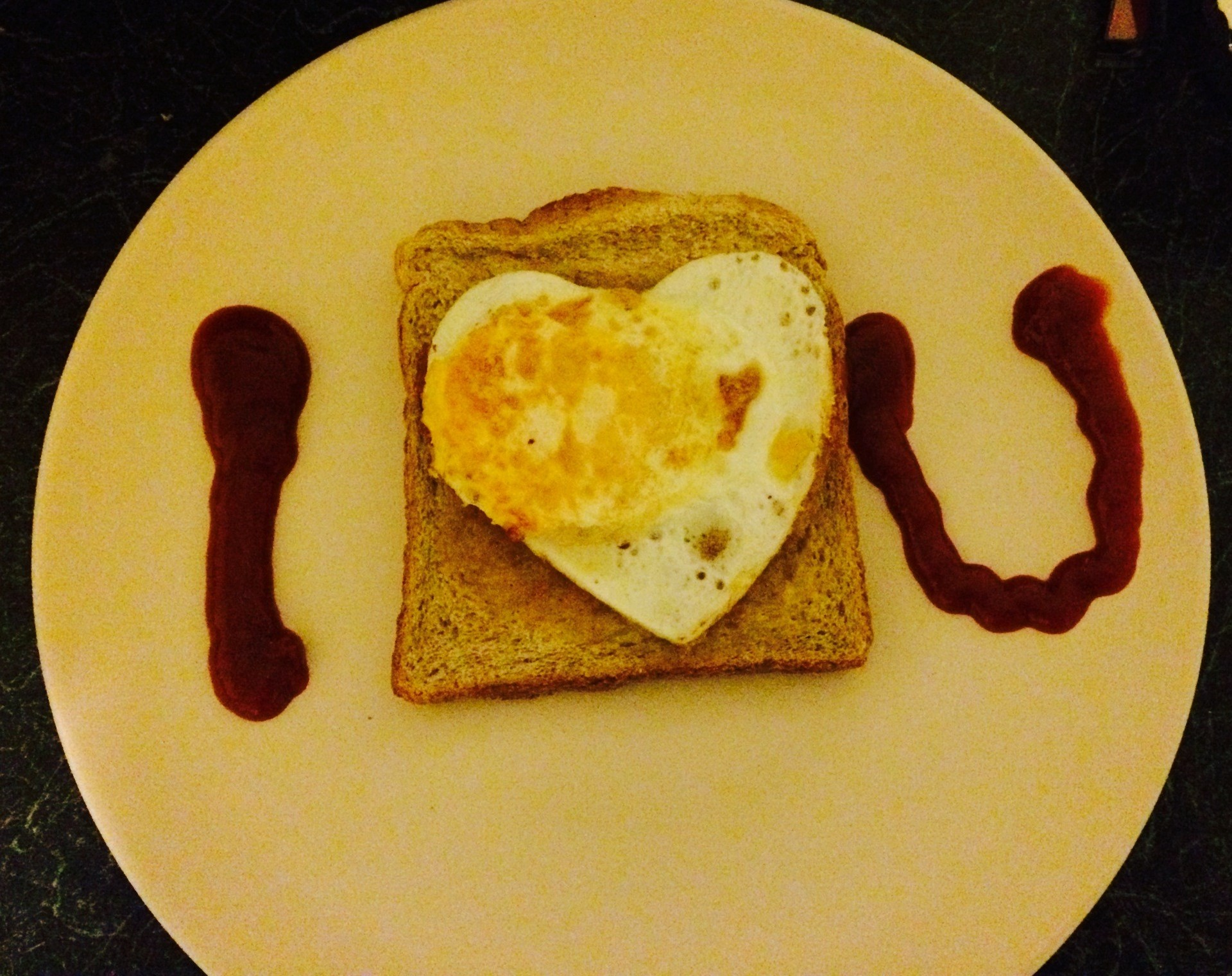 valentines treats heart shaped egg with I Love You message
