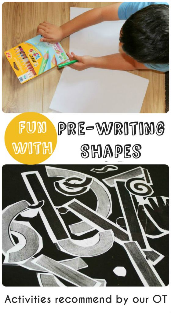Fun with pre-writing shapes - Activities recommended by our OT. This really worked for us