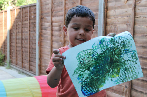painting with potato masher