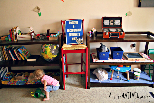 play room Montessori shelves