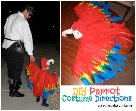 DIY parrot costume for kids - great to go alongside a pirate costume!