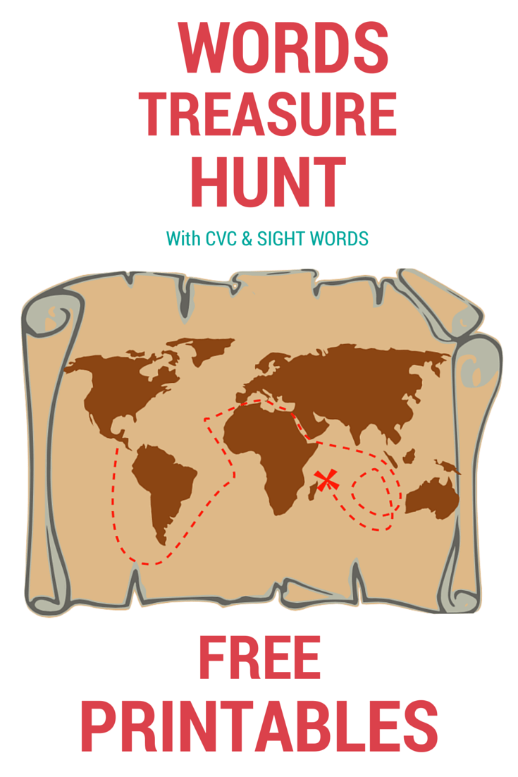 """Words treasure hunt with a focus on the letter X - """"X"""" Marks the spot! (Free printables included)"""