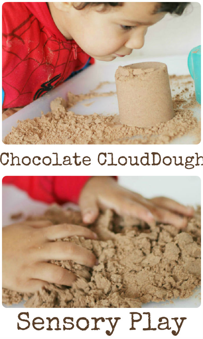Sensory play with chocolate cloud dough - its scented, and a great tactile play recipe!