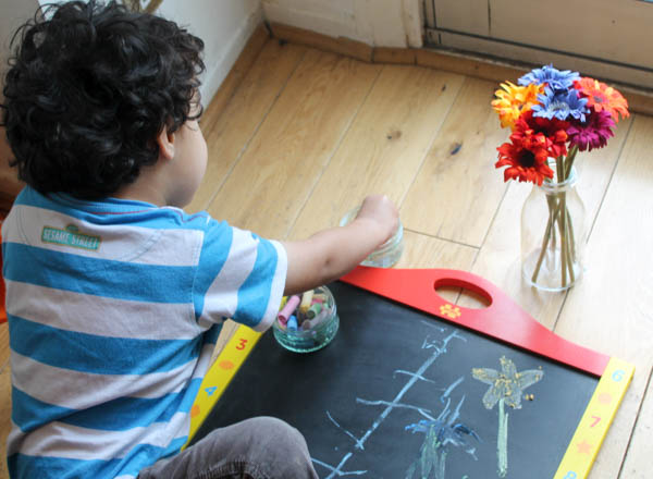 using wet chalk - still life chalk portraits