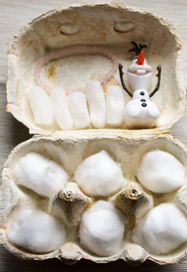 glittery frozen egg box snow world