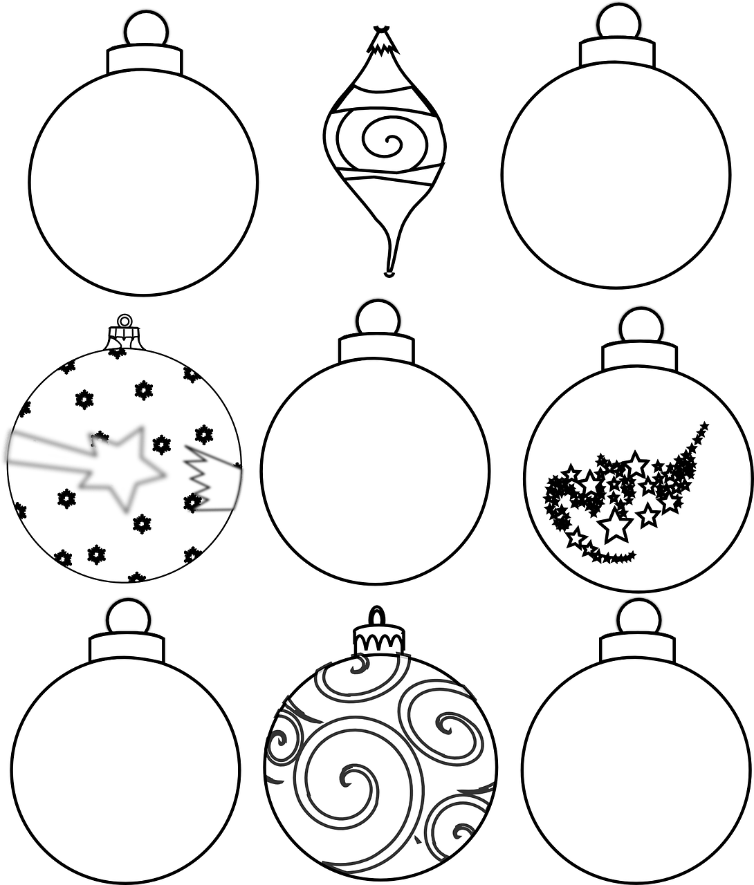 Colour and design your own christmas ornaments printables for Free printable christmas ornament coloring pages